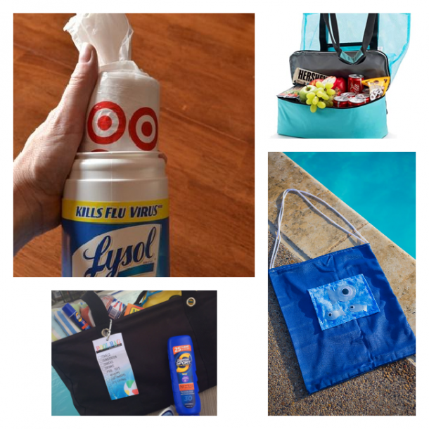 pool bag and beach bag ideas by making your own bag, buying a bag/cooler, and making a bag holder.