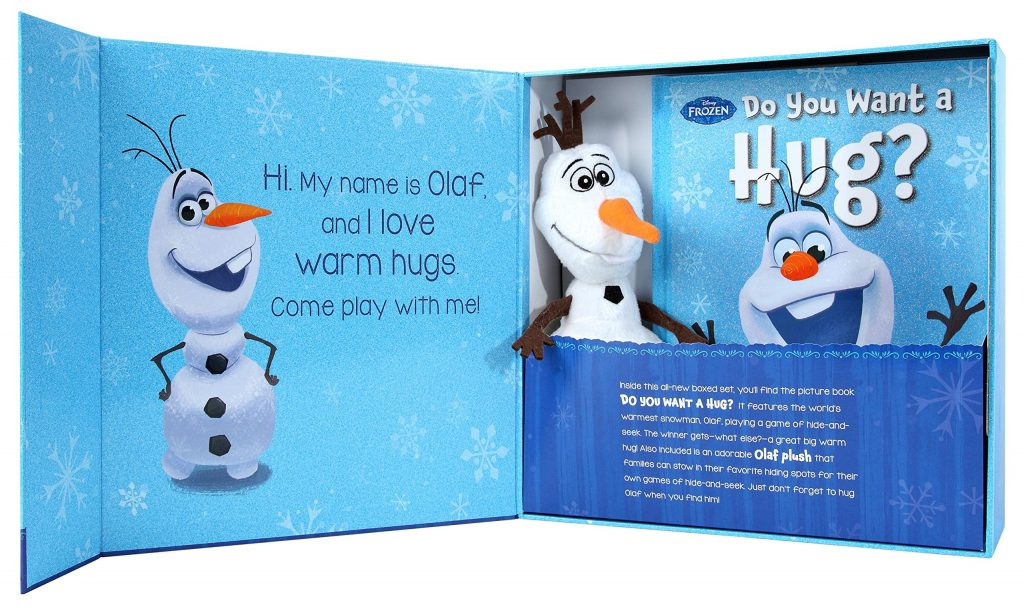 Frozen's hug and hide Olaf comes with a book, and a snow man plush.