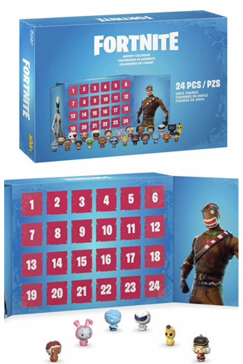 Fortnite Advent Calendar shown with box and 6 of the collectible figurines.