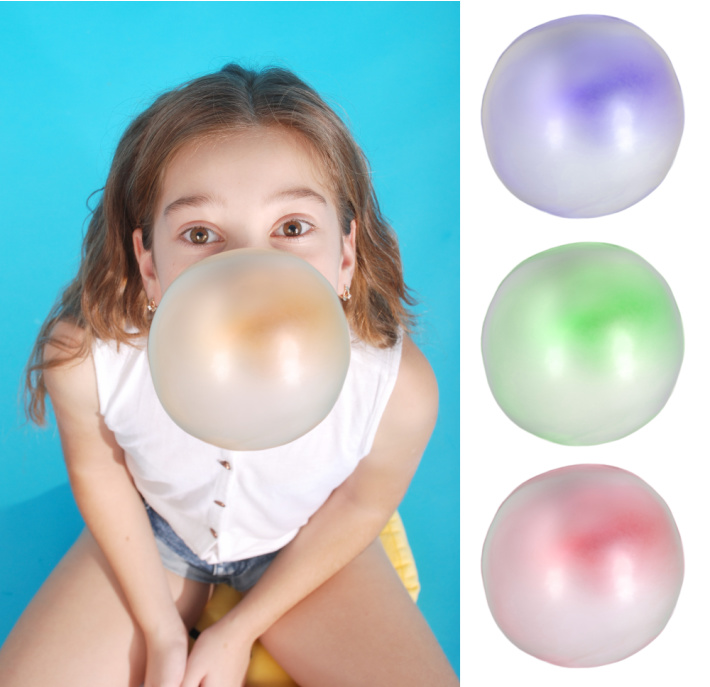 Gum in Hair Problem - girl blowing bubbles with gum colored orange purple green and red - Kids Activities Blog