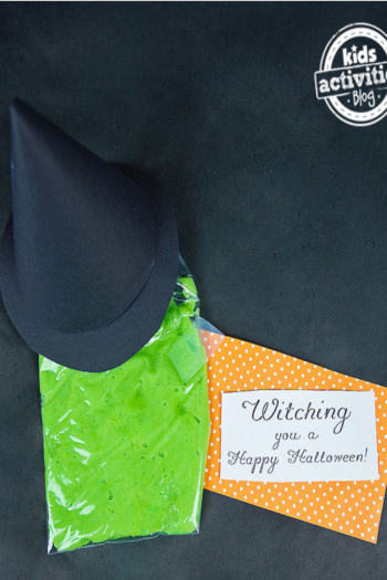 This green melted witch no-treat bag with a printable tag that is orange and white
