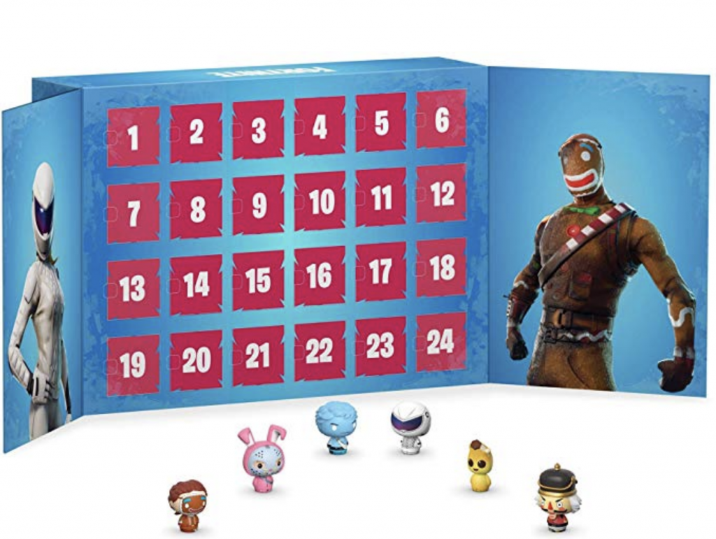 Fortnite Advent Calendar is shown as well as six of the collectible figurines