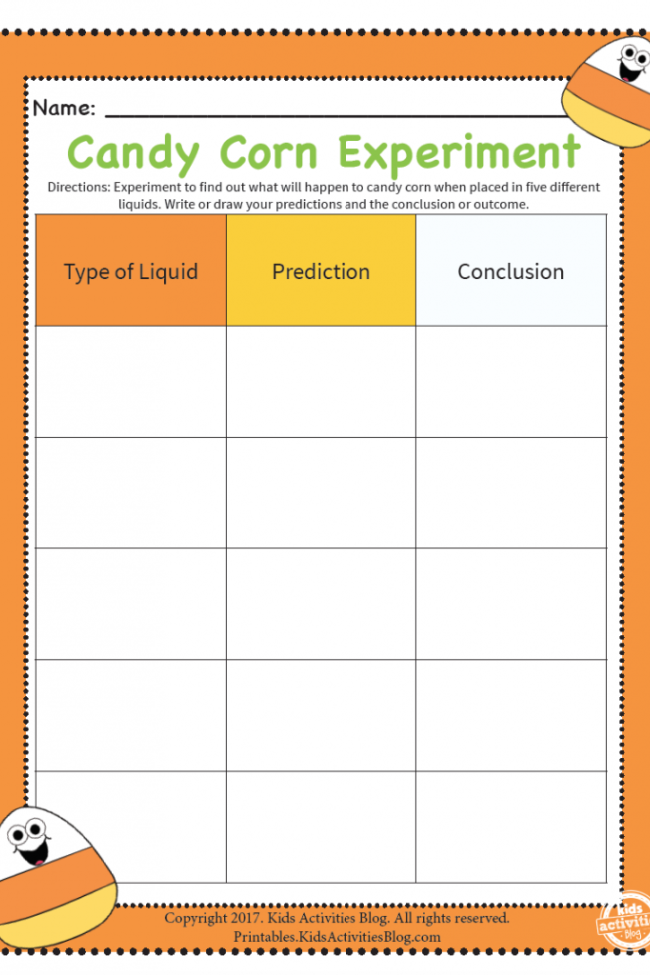 Candy Corn Science Experiment Worksheet