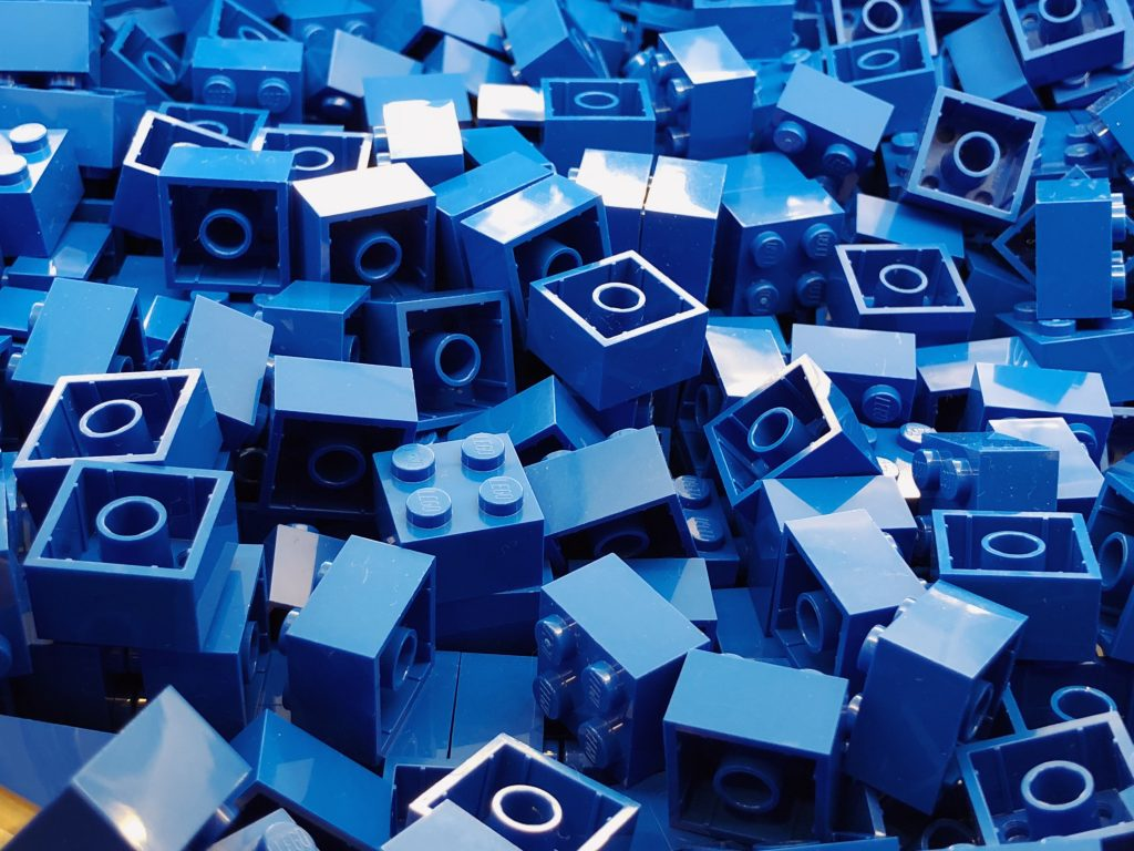 LEGO bricks are cleaned - set of blue bricks pictured