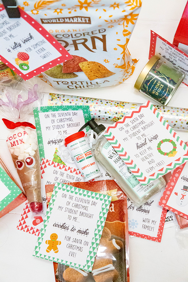 12 Days of Christmas Gifts for Teachers