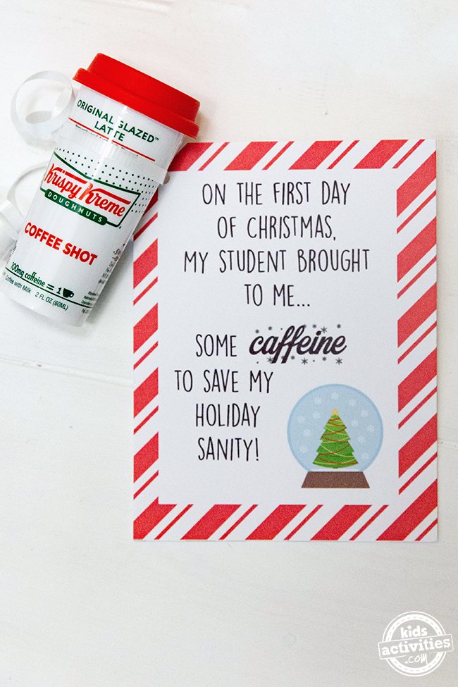 12 Days of Teacher Gifts for Christmas - caffeine is the first day with printable card