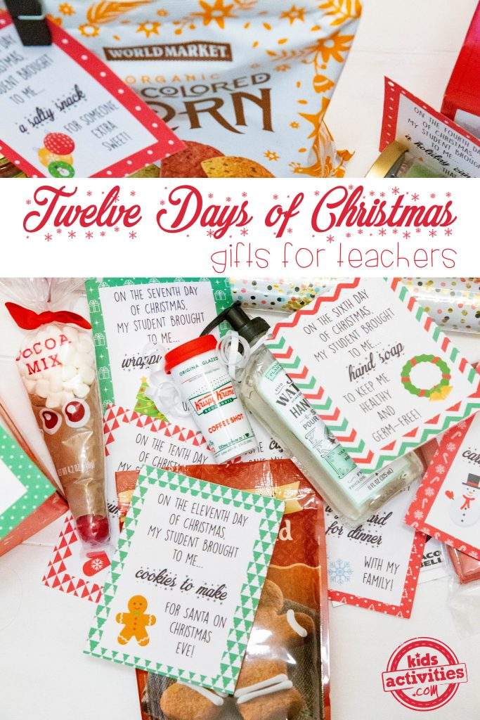 12 Days of Christmas gifts for teachers - affordable teacher gift ideas that are easy to give