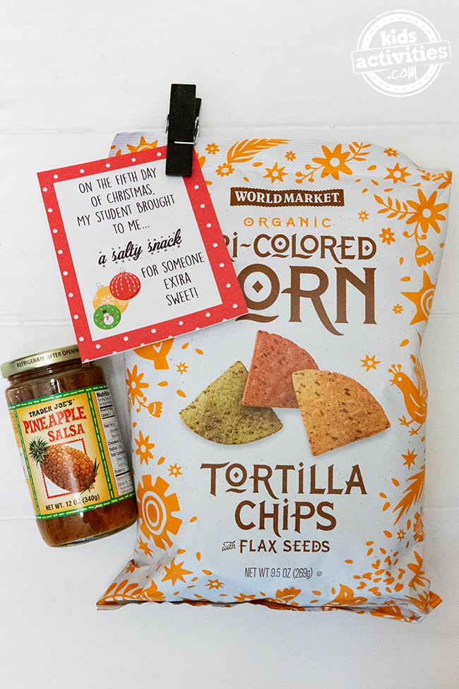 Chips and salsa with free printable gift tag from Kids Activities Blog makes an easy teacher gift