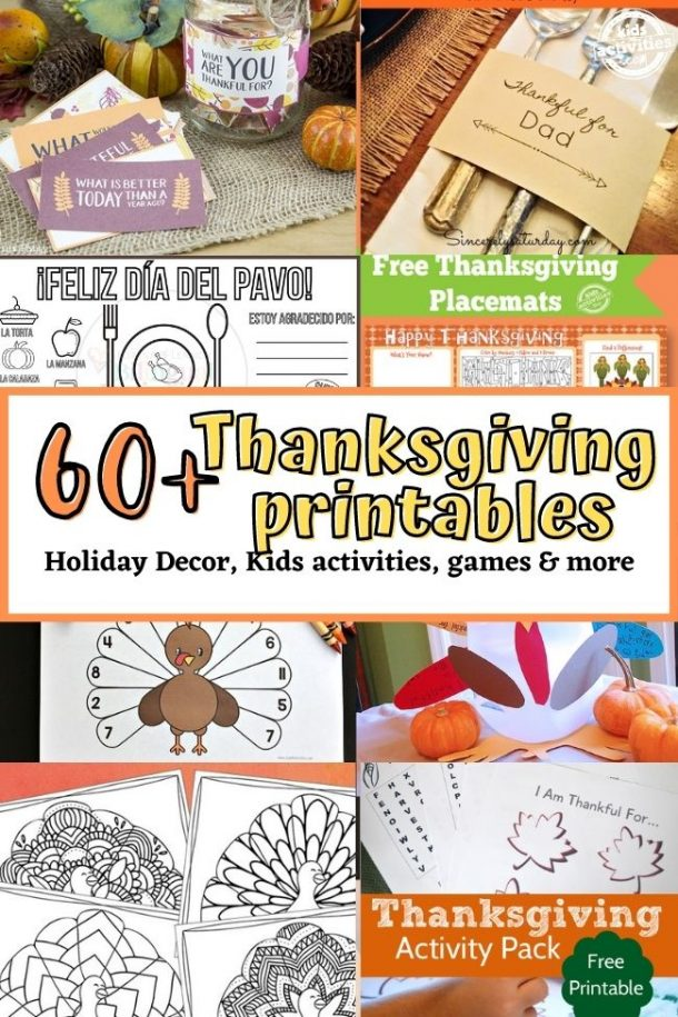 60+ Free Thanskgiving Printables - Holiday Decor, Kids Activities & More