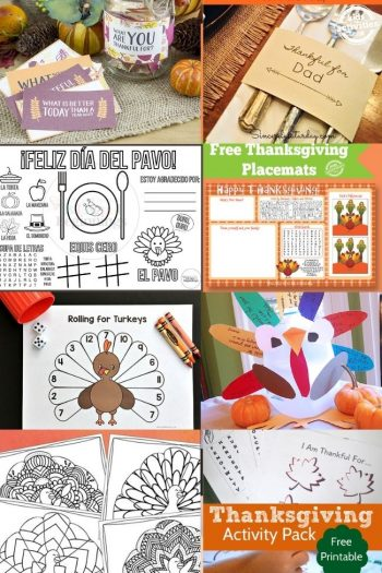 collage of thanksgiving printables for kids, holdiday decor, crafts ideas and more