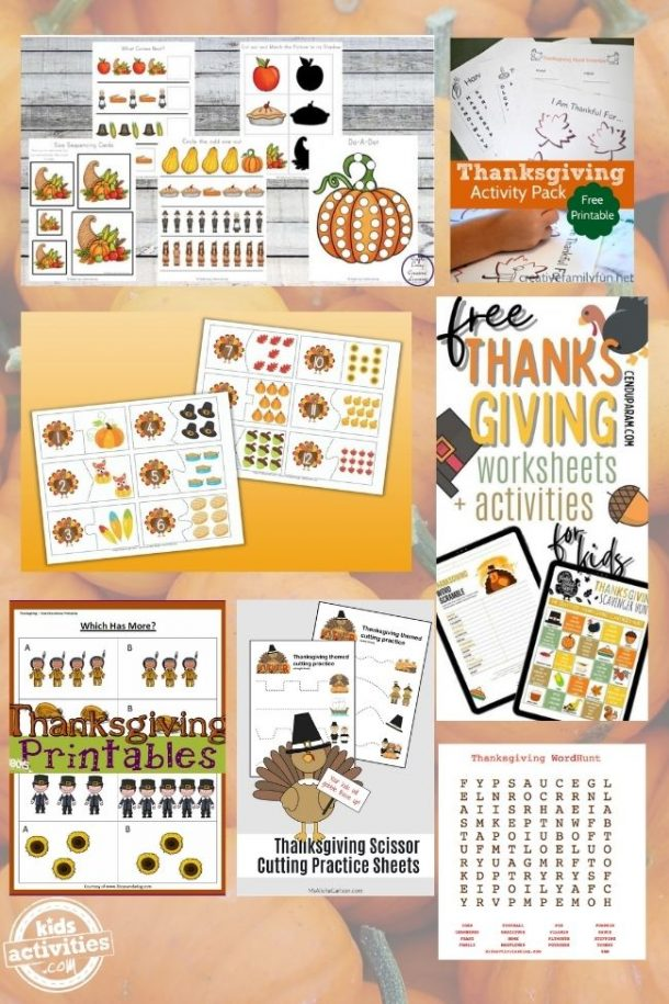 collage of kids activities for thanksgiving free printables