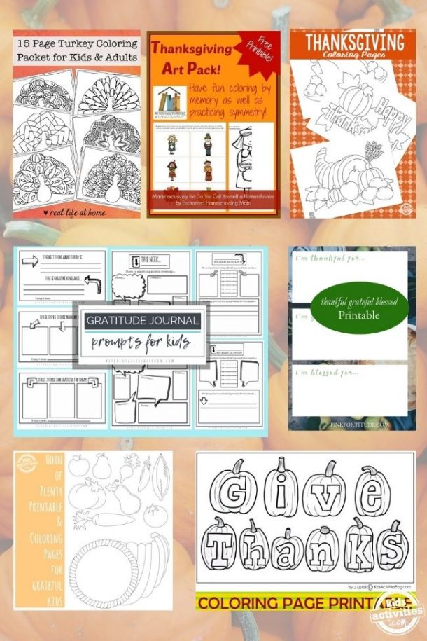 collage of thanksgiving coloring pages and gratitude journals