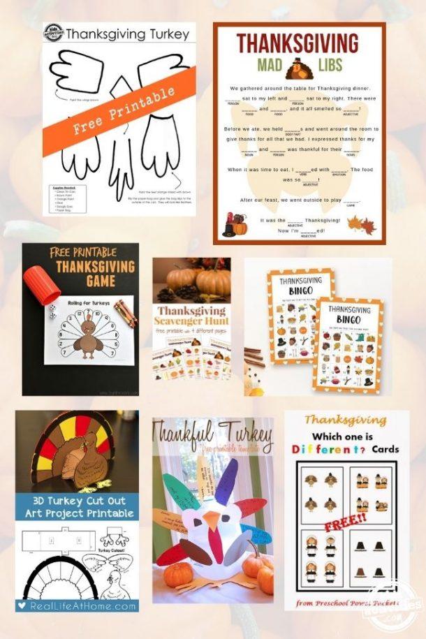 collage of thanskgiving games for kids