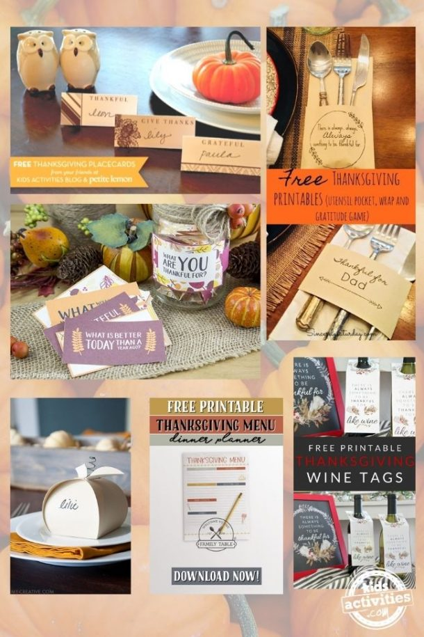 collage of printables for setting up the table for thanksgiving