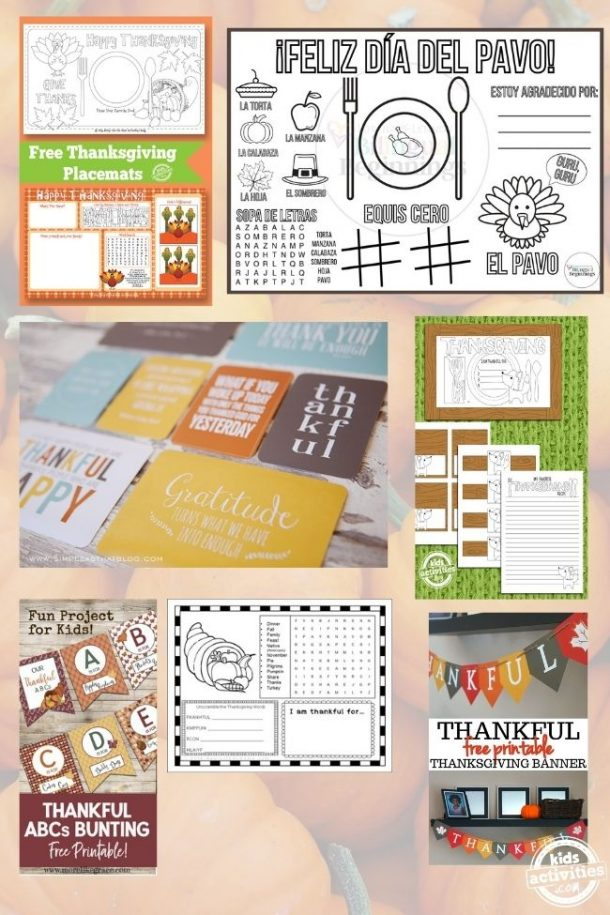 collage of printable thanskgiving placemats