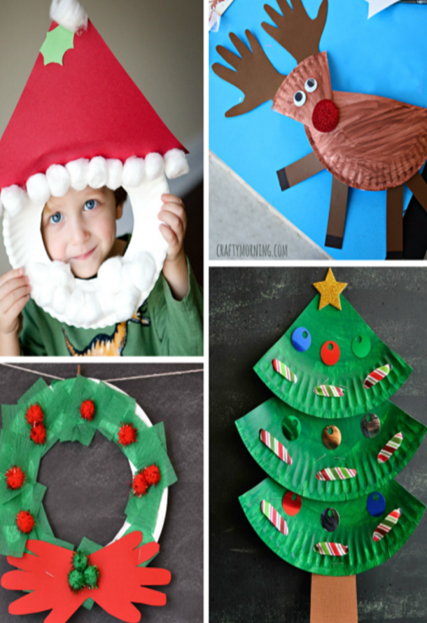 Christmas Paper Plate Crafts like a Santa photo prop, Rudolph with a red shiny nose, a Christmas wreath, and a Christmas tree.