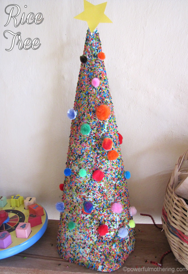 Colored Rice tree with rainbow pom poms