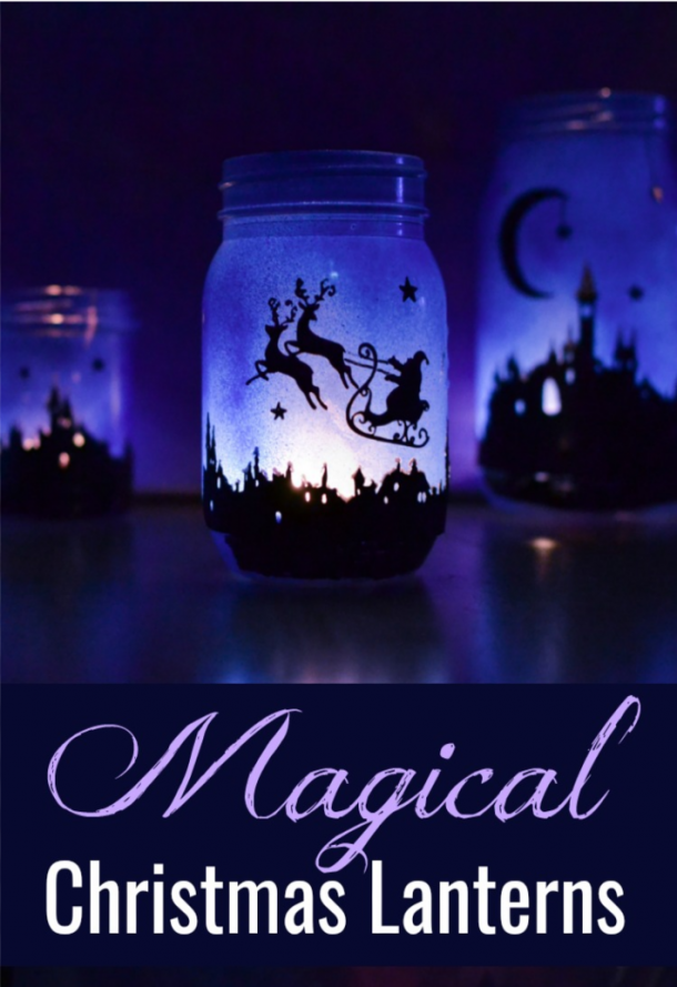 Magical Christmas Lanterns That glow purple with Santa, his sleigh, and reindeer.