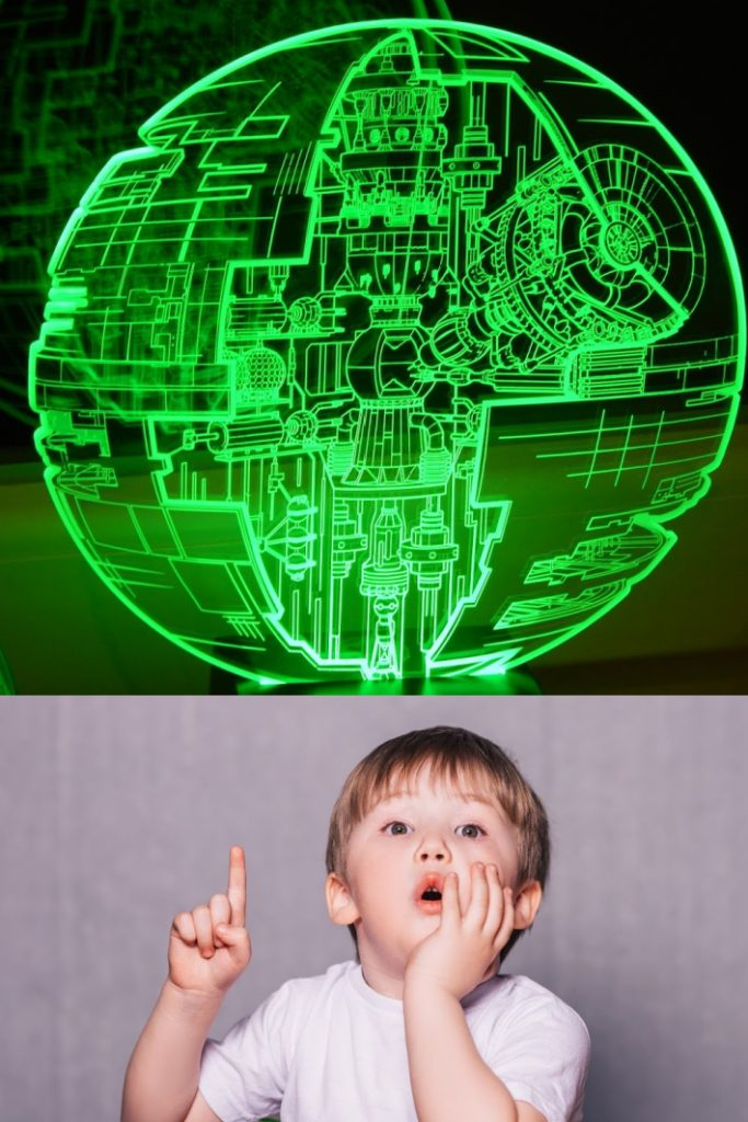 Star Wars according to a 3 year old video - Kids Activities Blog - 3 year old pointing at Death Star image