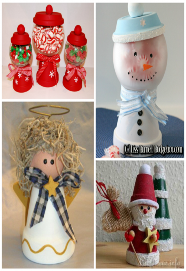 Terra cotta Christmas crafts that are candy holders for peppermints and red and green m&ms, a snowman that holds peppermints, a Christmas angel with mess brown hair, and a little santa clause and Christmas tree