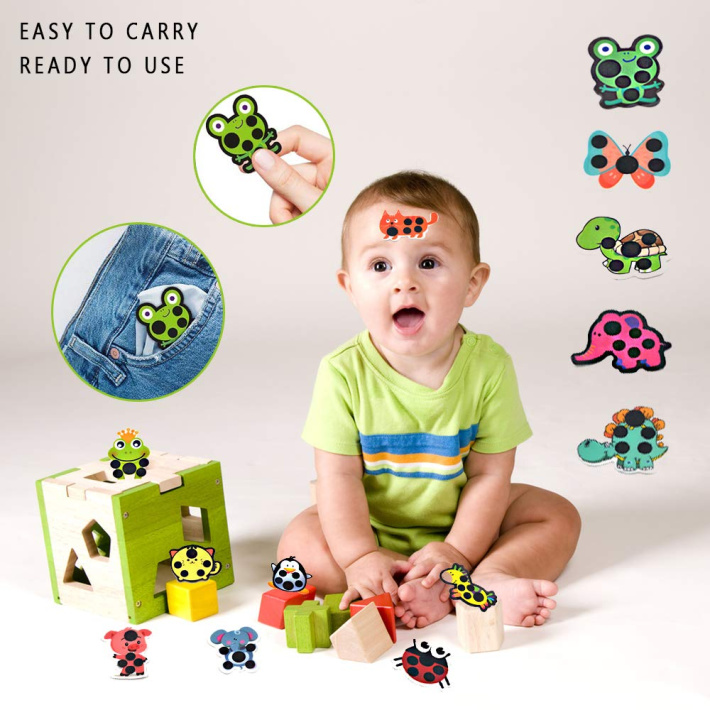 child with forehead fever stickers - forehead temperature thermometer strips cartoon variety