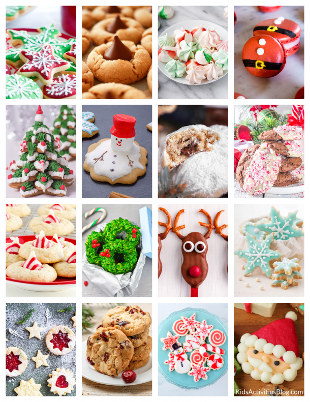 Homemade Christmas cookie recipes that families love - Shown are 16 homemade Christmas cookie recipes from frosted cookies to macaroons.