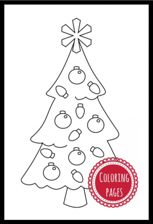 Christmas craft ideas like this Christmas tree coloring page with ornaments and a star.