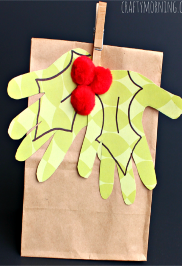 handprint mistletoe gift back with pin