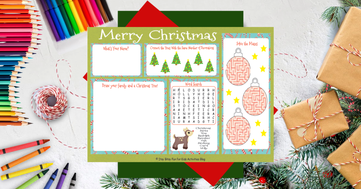 Festive Printable Christmas Placemats For The Holidays Kids Activities Blog