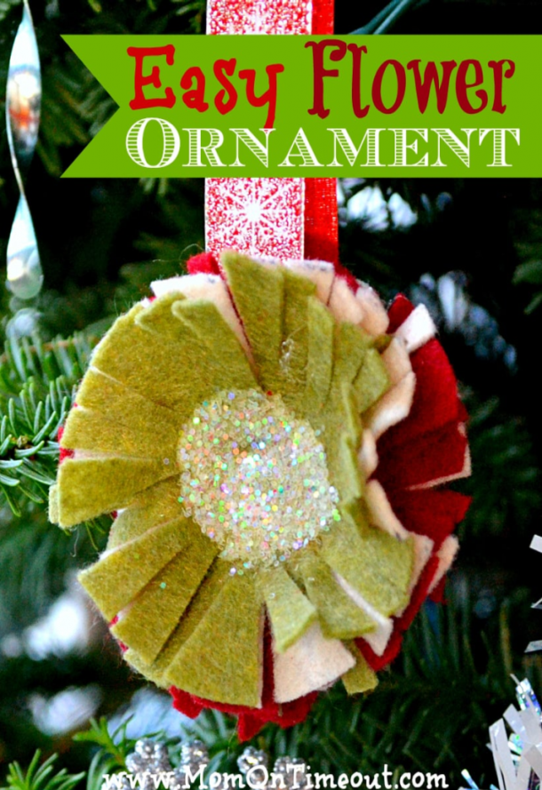 sparkly felt flower ornaments