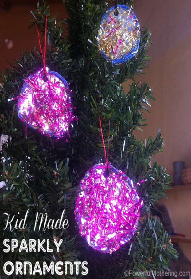 sparkly tinsel ornaments