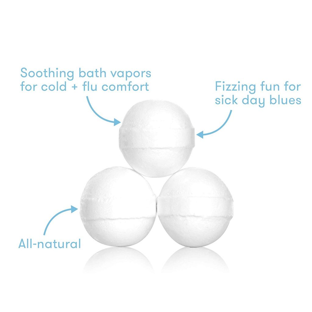 baby bath bombs - soothing bath vapors for cold + flu comfort, fizzing fun for sick day blues, all natural