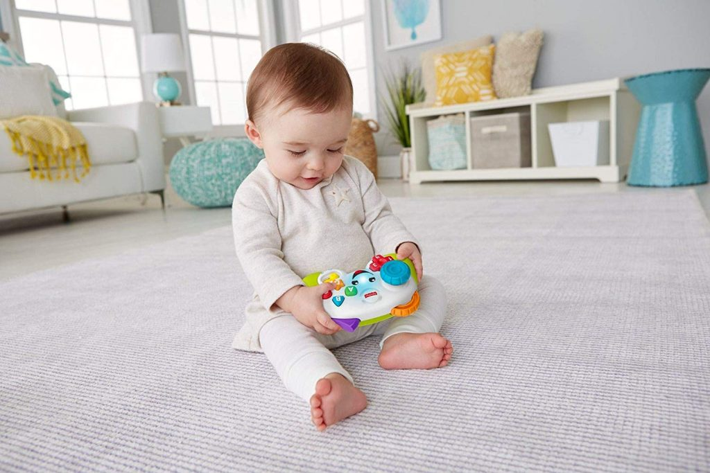 baby playing with fisher price remote searching for mario cheat codes?