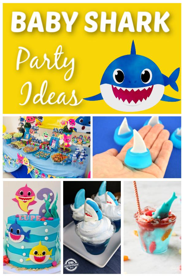 A collage of Baby shark birthday party ideas for kids like baby shark table setup, baby shark theme cake , shark tail inspired snacks, etc
