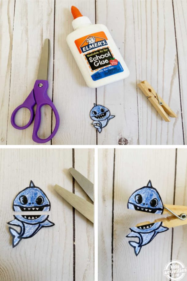 Cute Baby shark clothespin craft using baby shark image cut from baby shark coloring page and glued onto a clothespin.