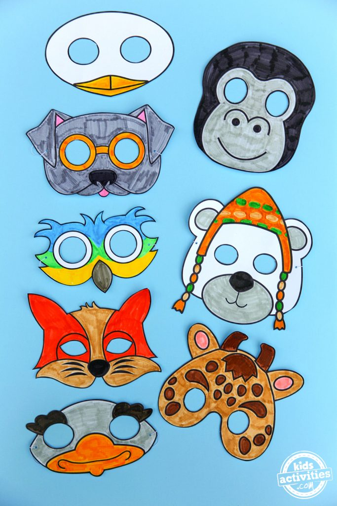 All the printable animal masks that include a duck, dog, gorilla, parrot, giraffe, fox, and ostritch