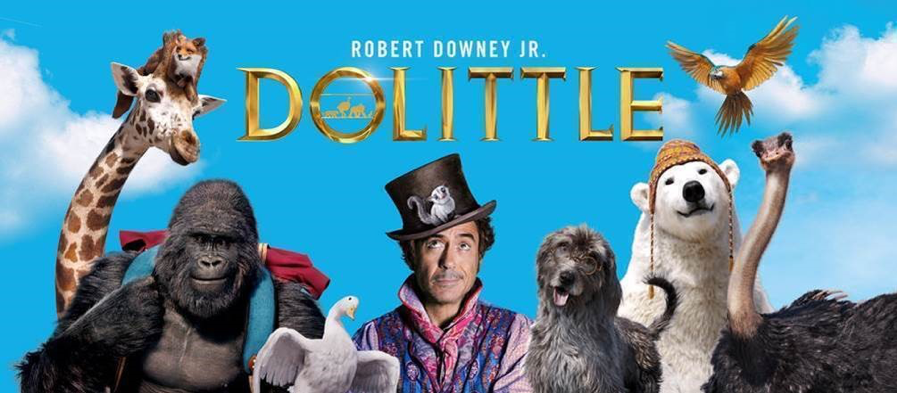 Dr Dolittle with Robert Downy Jr and a giraffe, gorilla, birds, emu, polar bear and a dog