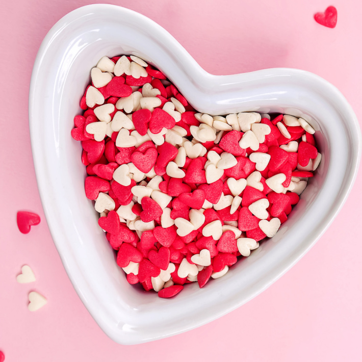 Heart shaped sprinkles perfect for Valentines pretzels - Kids Activities Blog