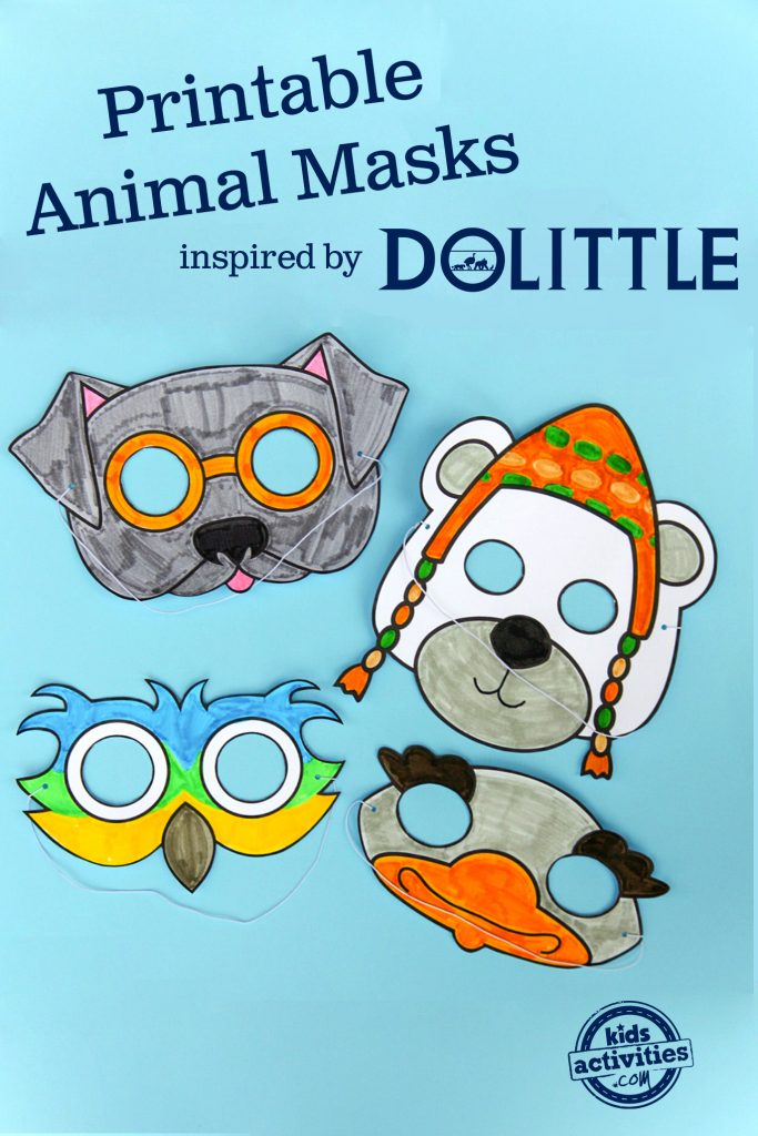 Printable animal masks inspired by dolittle with a parrot, ostrich, polar bear, and dogs