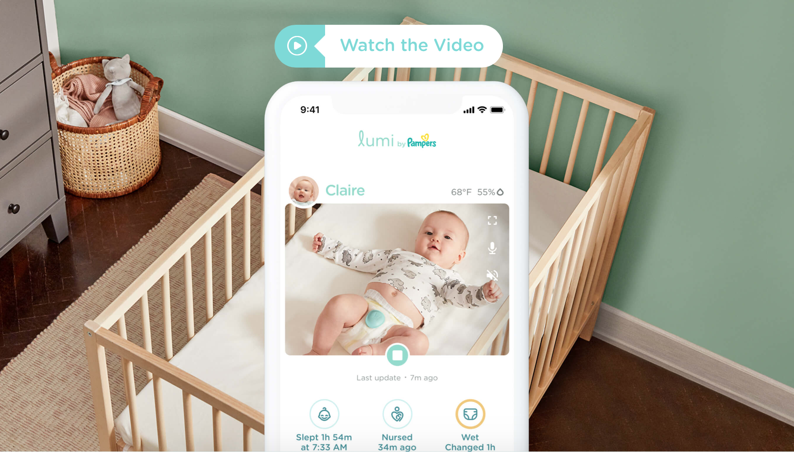 Lumi app for diapers shown on the phone over a crib in a home