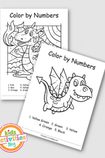 Dragon printable color by number