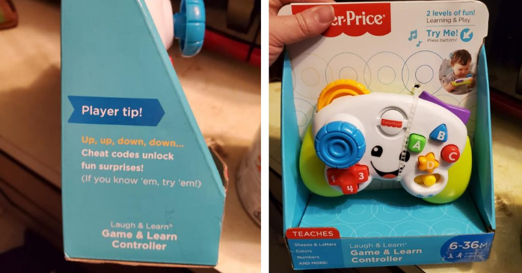 fisher price baby toy - fisher price game controller box reads up down cheat codes unlock