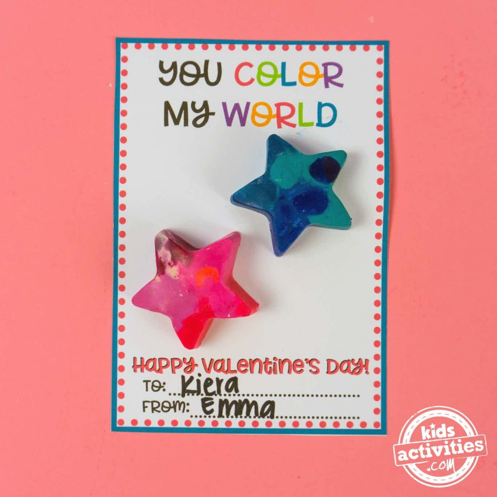 You Color My World Valentine card for kids - Kids Activities Blog