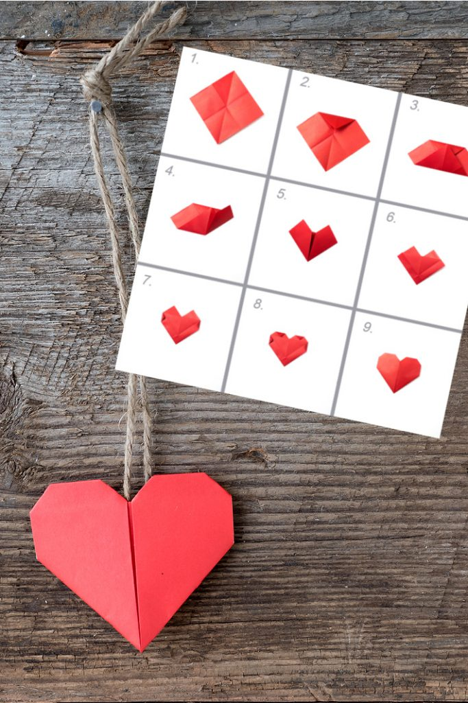 Origami folded heart on a string - Kids Activities Blog with folding instructions