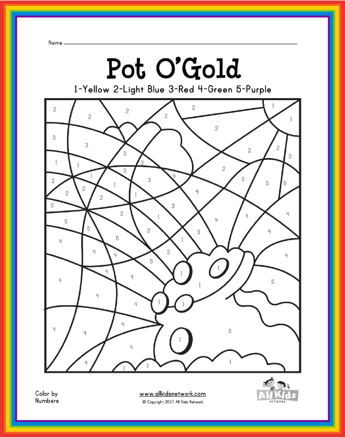Pot o gold free printable St Patricks Day worksheet from All Kids Network - Kids Activities Blog