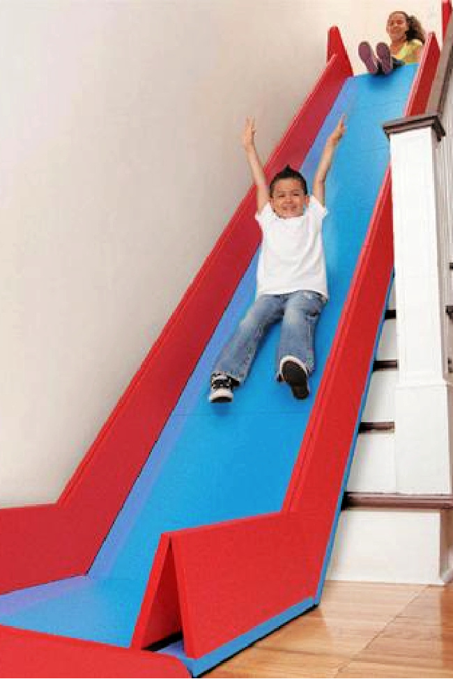 This SlideRider Turns Your Stairs Into A Giant Slide and I Need It