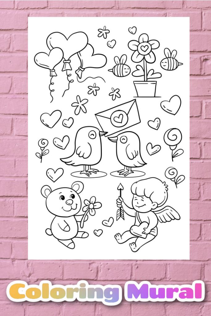 Valentines Day Big Coloring Page Mural - Kids Activities Blog - big Valentines coloring page hanging on pink brick wall