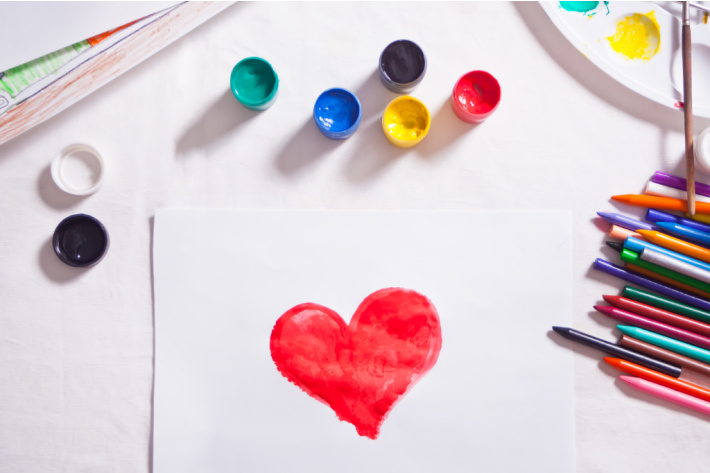 Valentines Day coloring pages and other printables - Kids Activities Blog - heart coloring art with colored pencils and paint