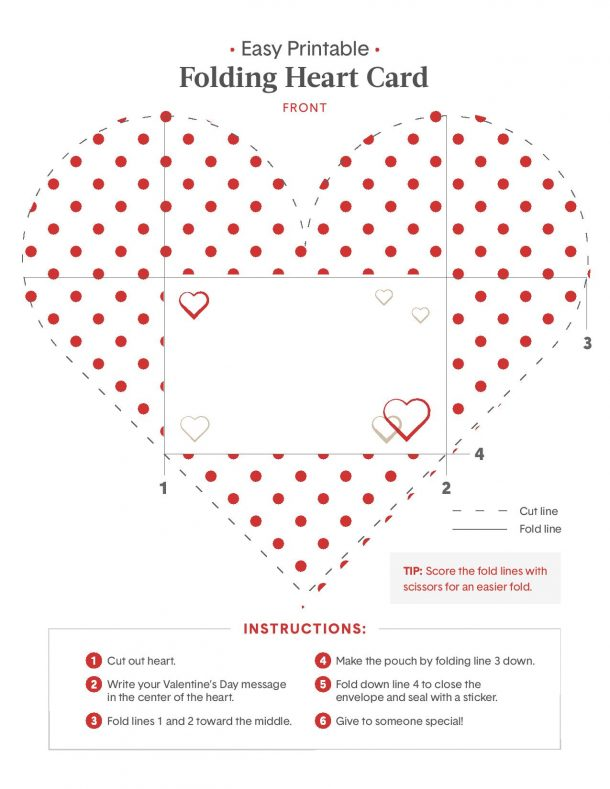 Valentine Heart Origami Card - what the free printable looks like with instructions