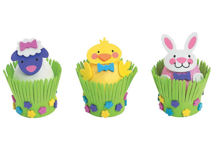 Easter eggs decorated with foam stickers from Oriental Trading Company - Kids Activities Blog